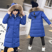 Warm Winter 90% White Duck Down Fur Collar Long Child Coat Children Outerwear Boys Down Jackets Kids Outfits For 120-170cm недорого