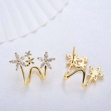 4PCS 19x16MM 24K Gold Color Brass and Zircon Flower Shape Stud Earrings Pins Jewelry Making Supplies Findings Accessories(China)