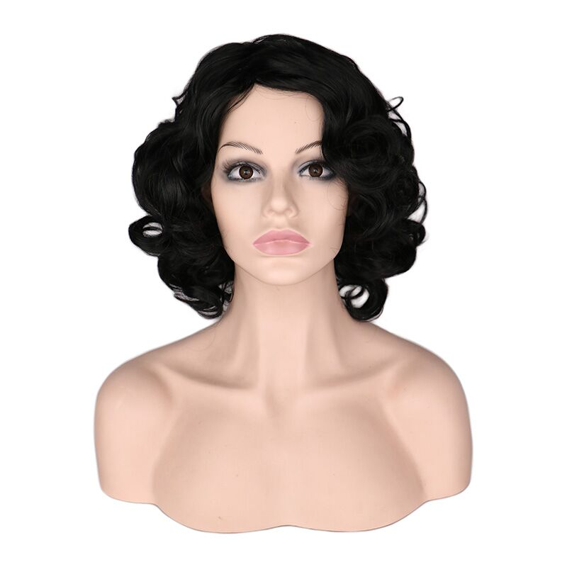 QQXCAIW Short Curly Wigs Women Party Cosplay Costume Natural Black Heat Resistant Synthetic Hair Wig