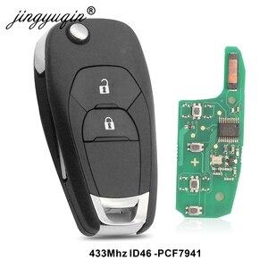 Image 1 - Jingyuqin 5 adet modifiye 2 düğme uzaktan akıllı anahtar Fob için Chevrolet Cruze 2014 2018 433 MHZ ID46 PCF7941 çip anahtar kontrol
