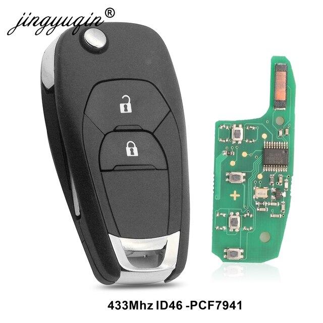 Jingyuqin 5 adet modifiye 2 düğme uzaktan akıllı anahtar Fob için Chevrolet Cruze 2014 2018 433 MHZ ID46 PCF7941 çip anahtar kontrol
