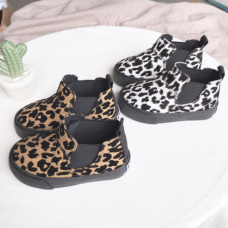 Leopard Boots Girls Children Shoes Convas Winter Flattie Casual Kids High-Top Sneaker Student Fashion Tiger Print Short
