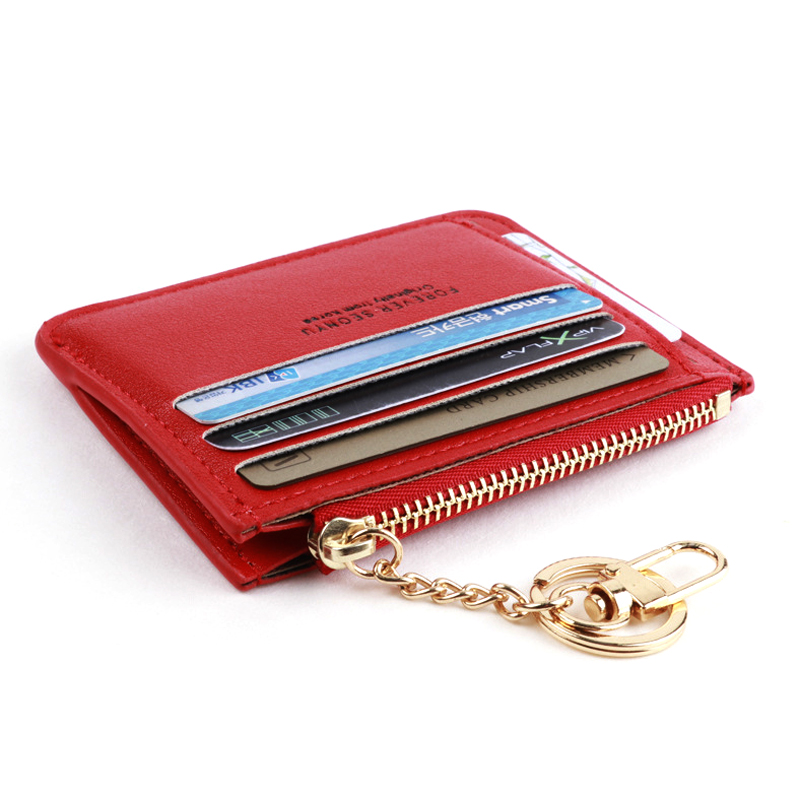 New Brand Super Thin Small Credit Card Holder Wallet Women's Leather Key Chain ID Card Case Slim Female Ladies Mini Coin Purse