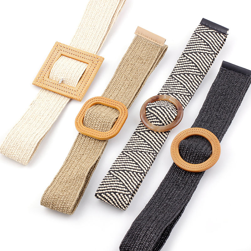 Summer Elastic Imitate Woven Straw Waist Belts Square Buckle Adjustable Woven-straw Waistband Bohemian Beach Dress Belts Hot