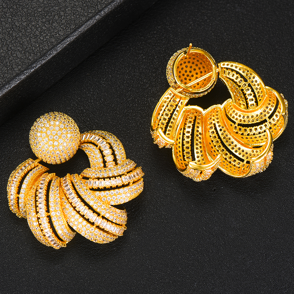 GODKI luxe afrique boucle d'oreille pour femmes mariage indien mariée bijoux pleine cubique Zircon boucles d'oreilles pendientes mujer moda - 5