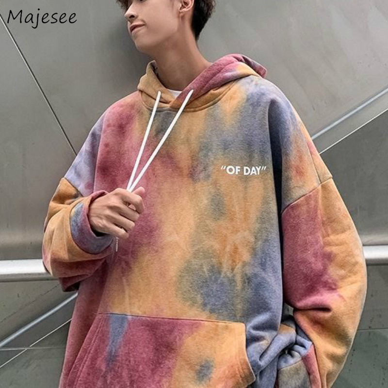 Hoodies Man Hooded Gradient Chic Oversize Winter Thickening Mans Korean Style Harajuku Plus Size 2XL Ins Daily Outwear Hip-hop