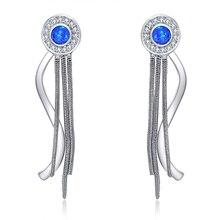 Высококачественные 925 серебряные серьги с голубым опалом, ювелирные изделия для девушек, Классический Бизнес-подарок, подарок для девушек, эксклюзивный oe794