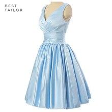 Коктейльные Вечерние платья, светильник, синий корсет на шнуровке, v-образный вырез, Короткое атласное винтажное женское платье 50 лет, vestidos de fiesta largos elegantes de gala