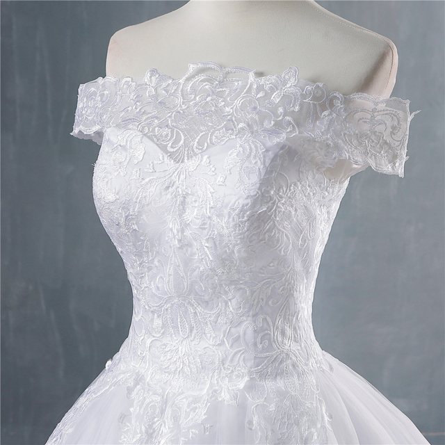 ZJ8150 ZJ9150 2019 2020 new White Ivory Off the Shoulder Wedding Dresses for brides Bottom Lace Big Train with lace edge 3