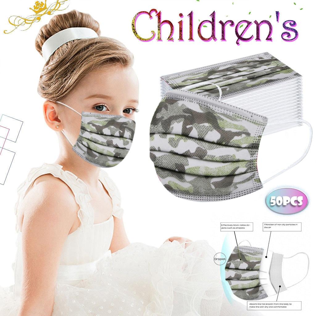 50pc chilren máscara de proteção de crianças novas máscara facial descartável industrial 3ply orelha loop impressão confortável dustproof