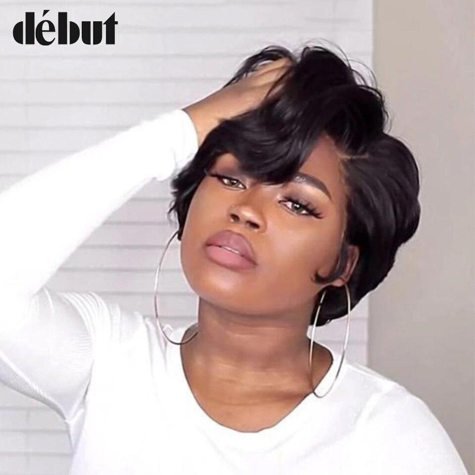 Debut Short Human Hair Wigs For Black Women Remy Brazilian Pixie Cut Short Wigs Women's Wigs Curly Wigs Free Shipping