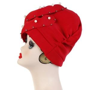 Image 3 - Helisopus perły zroszony Party Turban chusta hidżab kobiety duża gumka utrata włosów bandany muzułmańska chusta na głowę elegancka ozdoba do włosów akcesoria