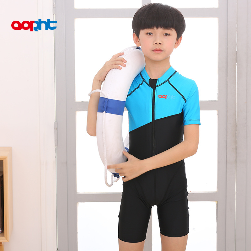 Flag Leite Industry KID'S Swimwear One-piece Boxer Men And Women Child Big Boy Teenager Training Learning Tour Bathing Suit