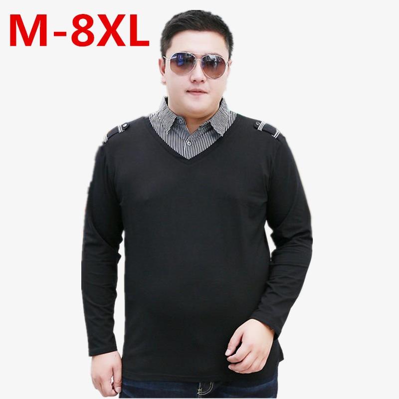 New PLUS  Size 8XL  7XL 6XL Men's British Fashion Men's Casual Slim Long Sleeved Men  Shirt Turn-down Collar Mens  Shirts