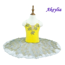 Yellow Gold Platter Plate Tutu Dress Canary Fairy Performance Tutus Pre-Professional Ballet  Classical Costume