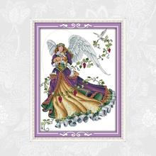 Joy Sunday Angel Painting Pattern Counted Printed on Canvas DMC 11CT 14CT Chinese Embroidery Cross Stitch kit Needlework Set