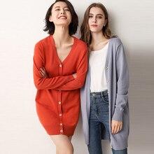 Spring and autumn Wool Cardigan Women's long sleeve cashmere sweater coat v-neck sweater Korean version Plus size Coat цена и фото