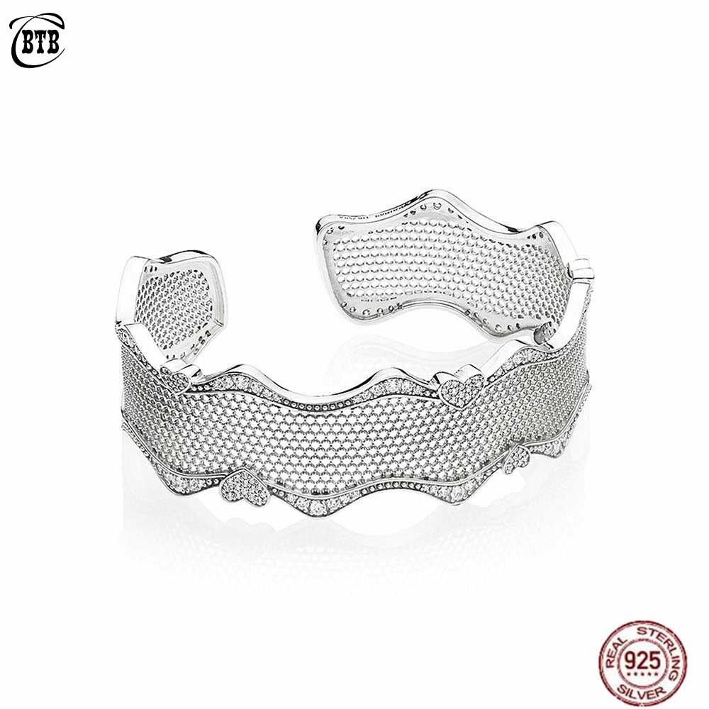Véritable 925 En Argent Sterling Moments Originaux Dentelle d'amour Bracelet Manchette Pour Femmes Charme Coeur Creux Bracelet Bijoux Cadeau