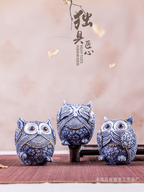 Estatuillas de búho decoración de animales ornamentos accesorios de decoración del hogar Oficina arte regalos de boda decoración cerámica