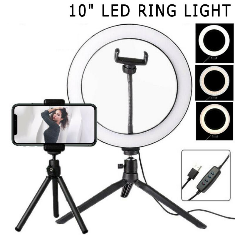 Remote Control USB Adjustable Brightness Ring Fill Ligh Selfie Light Ring Lights Fill Light+ Tripod Phone Clip as Shows, 16cm Beauty Lamp On-Camera Photography Video Lights Sets