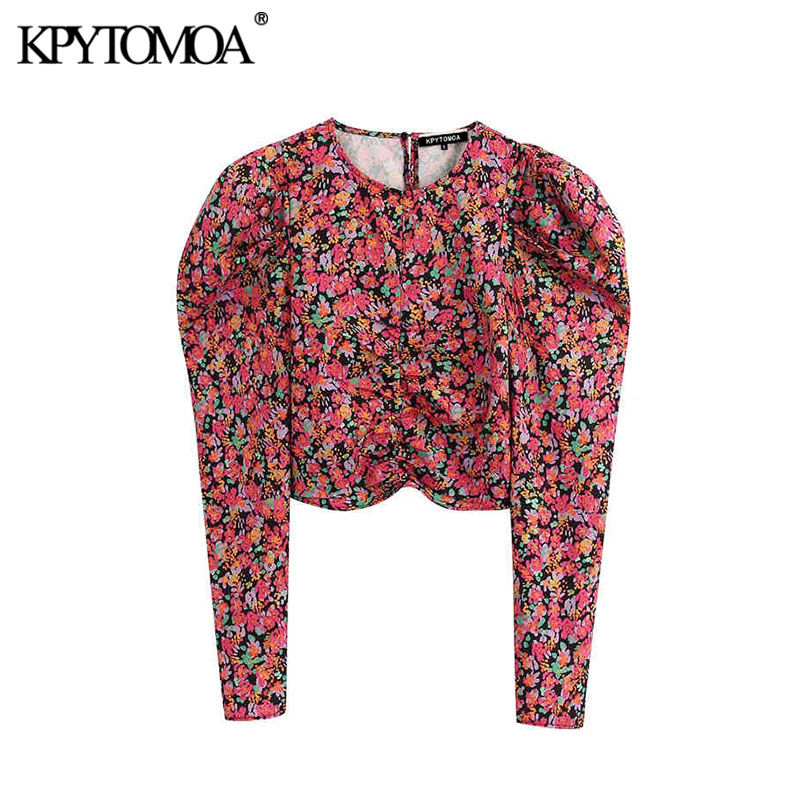 Vintage Stylish Floral Print Pleated Cropped Blouses Women 2020 Fashion O Neck Puff Sleeve Female Shirts Blusas Chic Tops