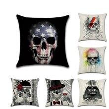 Halloween Skullll Pattern Throw Pillow Covers Pillowcases Housse De Coussin Decorative Sofa Cushion Cover fundas cojines decor стоимость