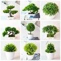 Зеленые искусственные растения бонсай 39 видов, маленькая трава для дерева, цветок в горшке, бонсай на Рождество, Хэллоуин, свадьбу, новый год...