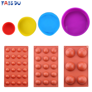 Random Color Round Shape Cake Mold Brown Half Ball Sphere Silicone Mold For Chocolate Dessert Mould DIY Decorating Cake