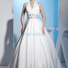free Shipping 2018 Fashion Customize Size/color Real photo lace Up Bridal Gown v-neck White/ivory