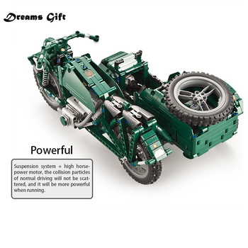629PCS RC Motorcycles Building Block city technic Military German WW2 war Remote control car bricks toys for kids christmas gift