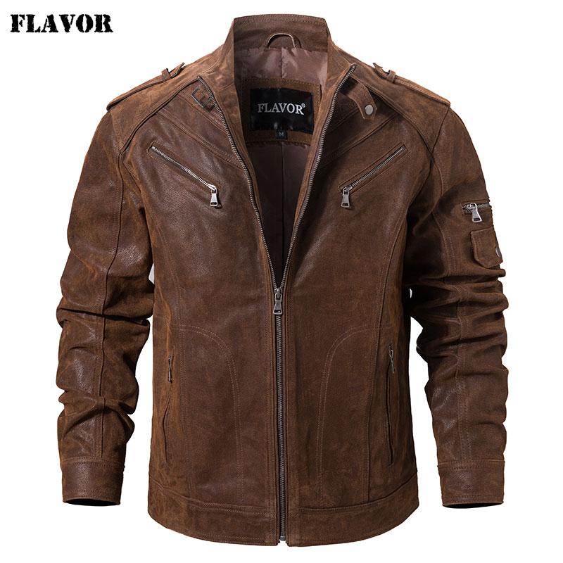 Men's Pigskin Real Leather Jacket Genuine Leather Jackets Motorcycle Jacket Coat Men