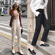 Spring Autumn New Solid Apricot Chic Fashion Wild High Waist Waistband Women Straight Pants Simple Female Nine Pants Feet
