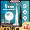 Escova de dentes elétrica ultra-sônica temporizador adulto escova carga usb escovas de dentes macias com 4 pces substituição cabeça 5 modo vibração