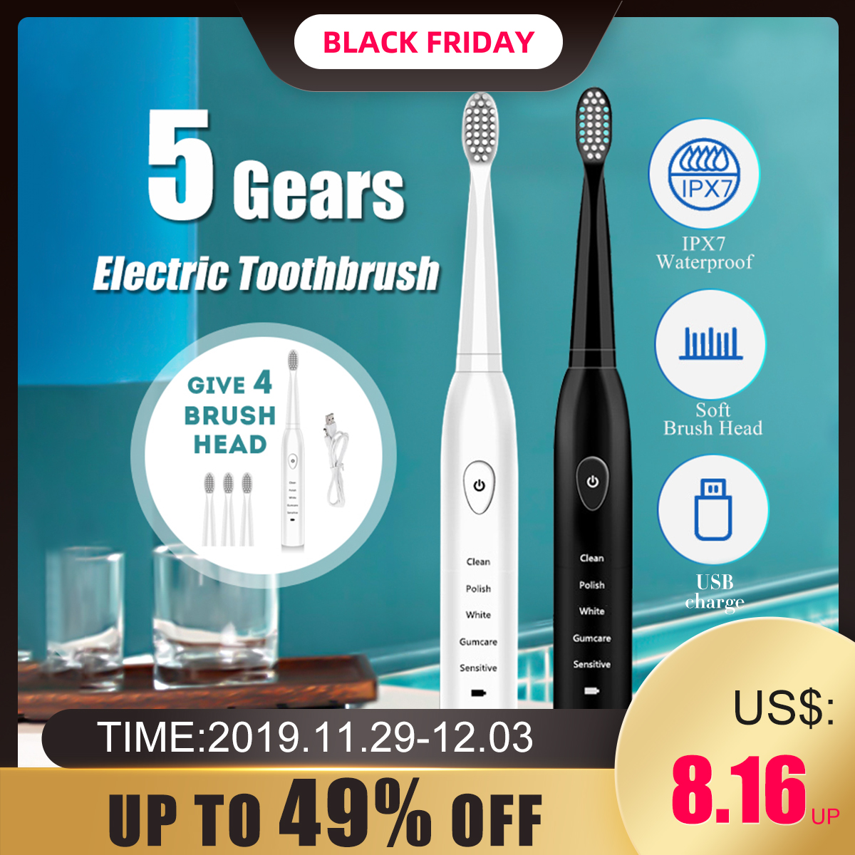 Ultrasonic Electric Toothbrush Adult Timer Brush Usb Charge Soft Tooth Brushes With 4pcs Replacement Head 5 Vibration Mode