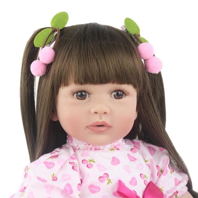 60cm Silicone Reborn Babies Doll Toys For Girl Princess Alive Toddler Bebe Dress Up Doll Kid