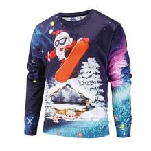 Santa Claus Men Long Sleeve Pullover Crewneck Autumn And Winter Men's Sweatshirts Comfortable Skateboard Women's Sweatshirts snowflake printed and santa claus pullover hoodie