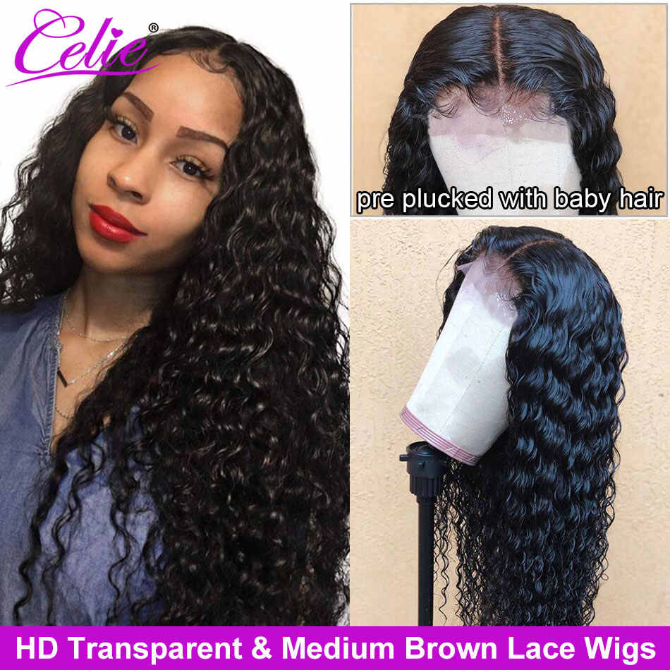 Celie Deep Wave Wig HD Lace Wig Brazilian Curly Human Hair Wig Lace Front Wigs Pre Plucked HD 360 Lace Frontal Wig