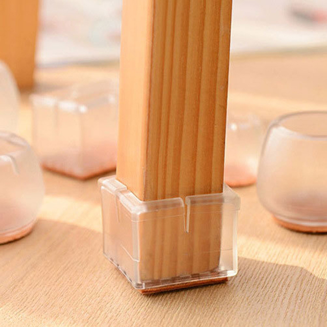 1pc Table Chair Leg Foot Covers Floor Transparent Silicone Cap Pad Furniture Table Feet Cover Floor Protector Non-Slip Cups