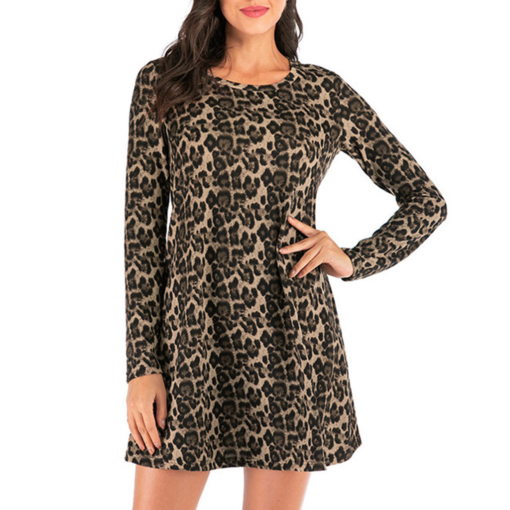 Plus Size Women Dress Retro Boho Long Sleeve O-neck Leopard Print Loose Dress 2020 Summer Beach Casual Mini Dress Sukienki#J30