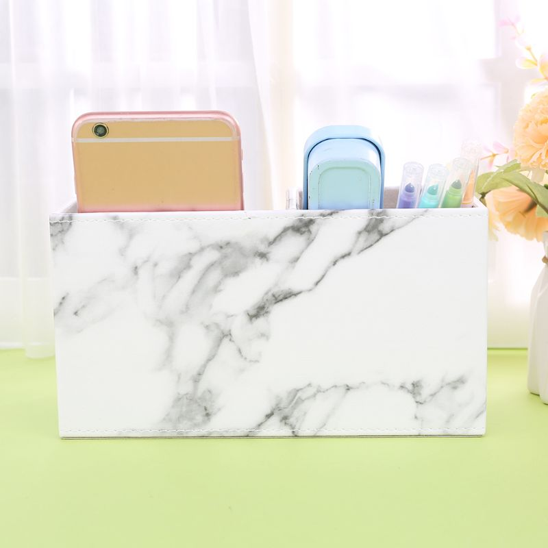 Multifunction Marble Leather Desk Stationery Organizer Pen Pencil Holder Storage