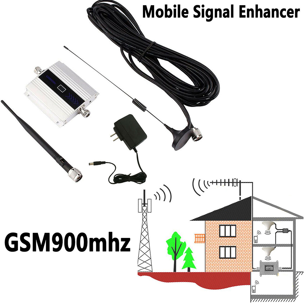 LCD Display Mini GSM Repeater 900mhz Mobile Cell Phone GSM 900 2G/3G/4G Signal Booster Amplifier + Indoor Antenna With 10m Cable