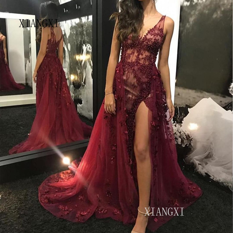 Graceful Long Evening Dress 2019 A-Line Deep V-Neck Sleeveless High Split Evening Dresses Formal Party Gowns Vestidos
