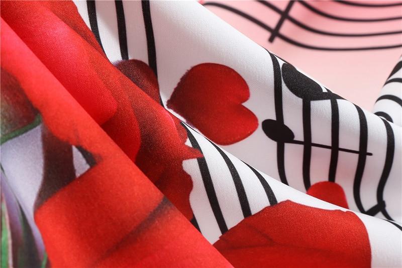 Hudobné párty šaty s dlhým rukávom (MUSIC style) notová osnova a červené ruže 12