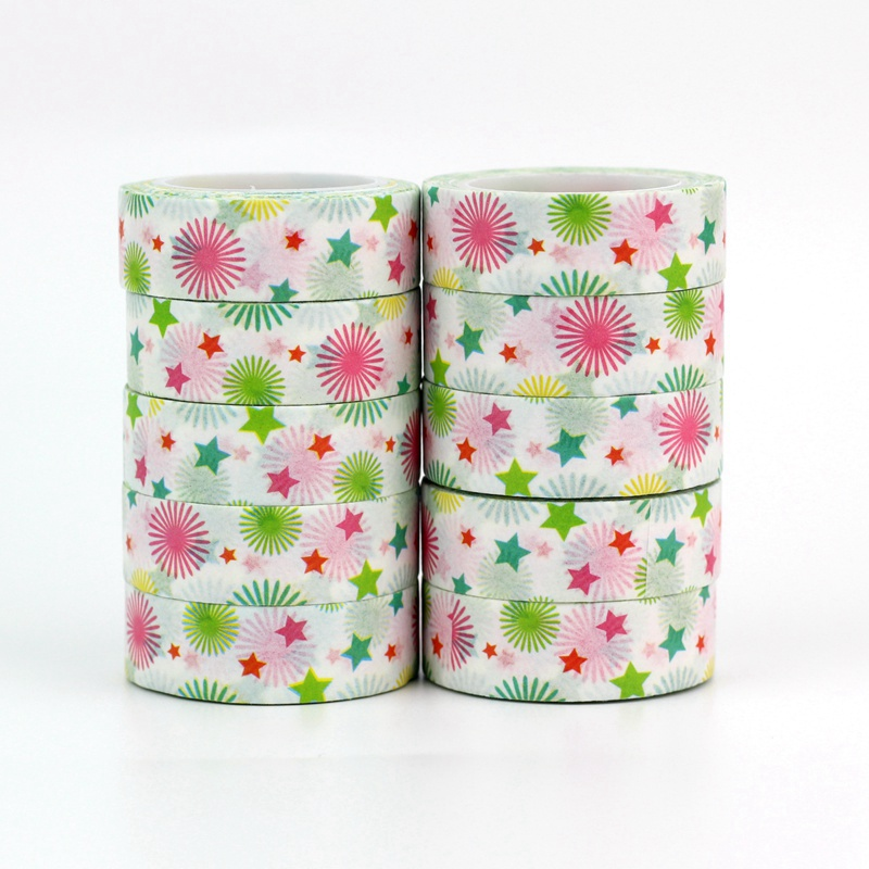 10pcs/lot Cute Fireworks And Stars Washi Tapes Paper DIY Decor Scrapbooking Planner Adhesive Masking Tapes Kawaii Stationery