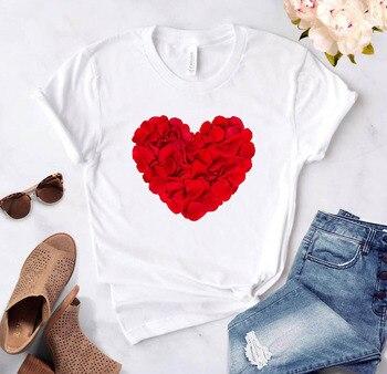 Heart Flower Print Women's T-shirt Casual Basis O-collar T-shirt White Top Shirt Short Sleeve T-shirt Love Graphic Women T-shirt casual drawstring mandarin collar t shirt