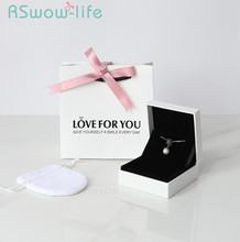 3Pcs Simple Gift Box For Lover Ring Necklace Bracelet Jewelry Storage Boxes Package Bags +Jewelry Boxes+Cloth Bag