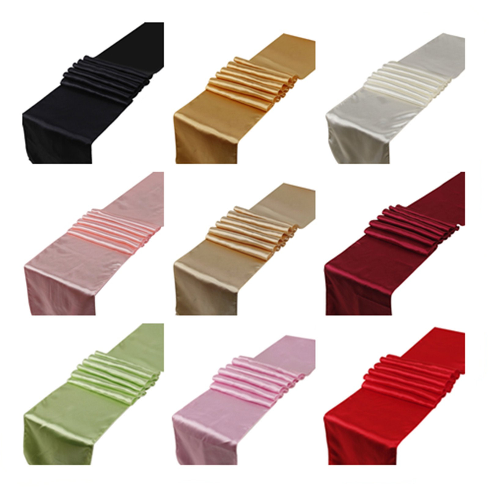 15PCS Satin Table Runners Wedding Party Event Home Decor Supply Satin Fabric Chair Sash Bow Table Cover Tablecloth 30cm*275cm