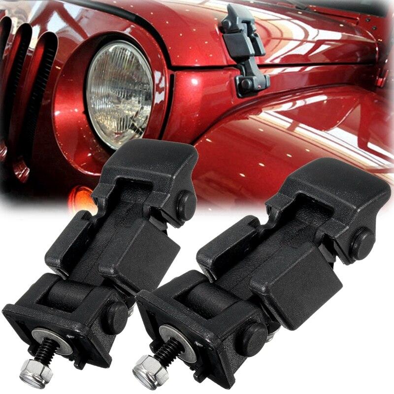 1 Juego de cierres de sujeción con capucha negra y soporte de cierres de hebilla para Jeep/Wrangler 2007-2016 accesorios para el capó del coche