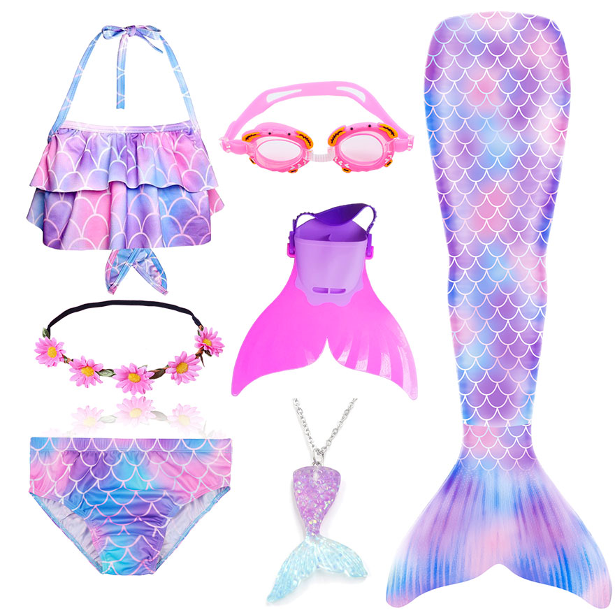 Ha9151becbf934792b0a6e2db154724acM - Kids Swimmable Mermaid Tail for Girls Swimming Bating Suit Mermaid Costume Swimsuit can add Monofin Fin Goggle with Garland