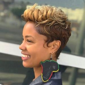 Image 2 - Trueme קצר Ombre בלונדינית שיער טבעי פאות לנשים בצבע ברזילאי לערבב חום שחור פיקסי לחתוך תחרה אדם פאה